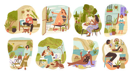 Set of people enjoying slow life vector flat illustration. Collection of man and woman relaxing, surfing internet, sunbathing, walking, drinking wine. Diverse person resting at home, park or beach