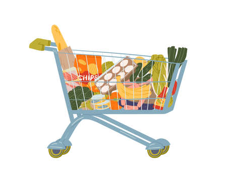 Shopping cart full of food and drink vector flat illustration. Grocery trolley with handle filling by fruit, vegetables, beverage and can isolated on white. Pushcart from self-service shop Vettoriali