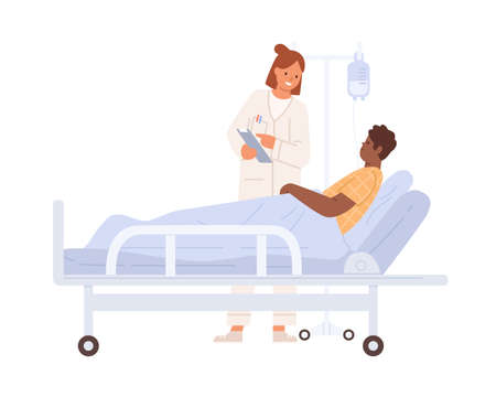 Female doctor visit black skin man at hospital room vector flat illustration. Male lying on bed with dropper during treatment at clinic isolated on white. Medical personnel consulting patient