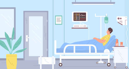 Male patient lying on bed at modern intensive therapy room vector flat illustration. Sick man with dropper at hospital interior. Medical clinic furniture and devices. Guy at ward during therapy 向量圖像