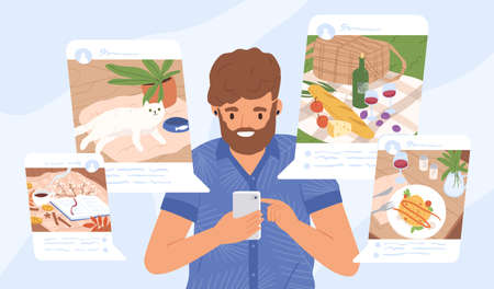 Young guy sharing moments at social networks vector flat illustration. Modern male holding smartphone making post for followers. Addiction from social media and internet Ilustração Vetorial