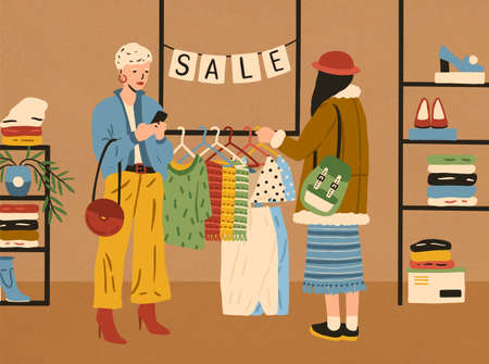 Two modern fashion female use smartphone and choosing clothes in boutique vector flat illustration. Woman customer looking at colorful apparel on hanger. Stylish girl enjoying shopping during sale