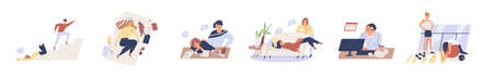 Exhausted, fatigue people in procrastination and emotional burnout on white background. Tired, frustrated, weak, unhappy people do nothing, fall down stairs, laying sofa in flat vector illustration Illustration