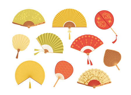 Set of Asian paper and textile fans vector illustration. Collection of colorful realistic Japan and Chinese traditional accessories isolated on white. Vintage folding fan with design elements