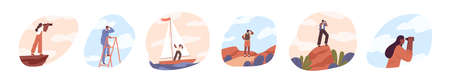Set of people look into future vector flat illustration. Collection of man and woman stand on stairs, top of mountain and sailboat with binoculars. Concept of new horizons and choice of direction
