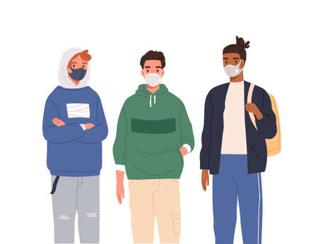 Group of diverse modern teenagers wearing protective masks vector flat illustration. Casual teen guys in respirators standing together isolated on white. Protection from coronavirus outbreak Vetores