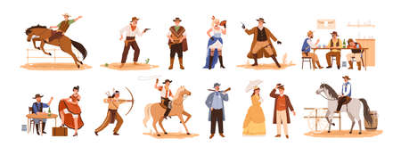 Set of wild west cartoon characters vector flat illustration. Collection of cowboy ride on horse, sheriff with gun, country guys at bar, indian with a bow, couple, woman in cabaret isolated on white