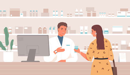Smiling male pharmacist consulting female customer standing at counter in pharmacy vector flat illustration. Friendly woman buying remedy at drugstore. Client and druggist at pharmaceutical shop