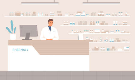 Friendly male pharmacist standing at counter in pharmacy vector flat illustration. Positive seller in white medical coat working at drugstore. Man apothecary at pharma store interior 일러스트