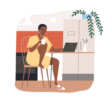 African american freelancer woman work from home vector flat illustration. Black skin female hold tea chatting or watching movie use laptop isolated. Modern girl relaxing at kitchen surfing internet
