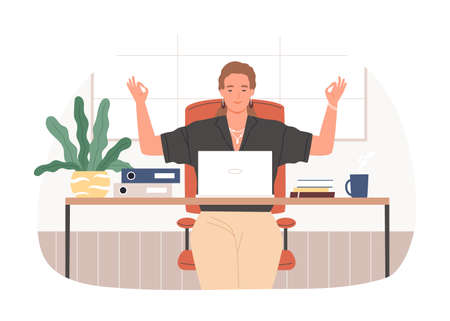 Businesswoman with closed eyes meditating at workplace vector flat illustration. Relaxed female sitting at desk with laptop practicing yoga isolated on white. Woman during stress relief at office