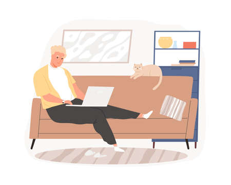 Freelancer guy sitting on couch working remotely use laptop vector flat illustration. Male relaxing in living room chatting at social networks or surfing internet isolated. Man spending time at home
