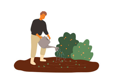 Smiling male farmer watering seedbed vector flat illustration. Joyful man agricultural worker making gardening job isolated on white. Happy guy with watering can taking care to growing plants