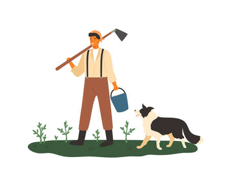 Cute male farmer holding hoe and bucket vector flat illustration. Smiling agricultural worker standing with dog on green grass with plants isolated on white. Agronomic man at farmland