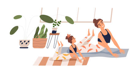 Cheerful child and mother practicing yoga together at home vector flat illustration. Happy family doing stretching exercise on mat isolated on white. Joyful woman and girl during sports training Illusztráció