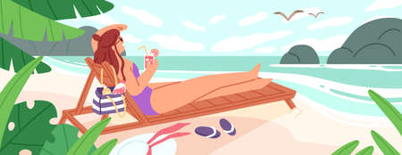 Woman lying on chaise-longue with cocktail at empty beach vector flat illustration. Female in swimsuit enjoying sunbathing having rest near sea. Relaxed girl enjoying calmness at tropical resort Ilustração