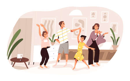 Smiling family dancing having fun at home vector flat illustration. Joyful parents and kids clapping hands and demonstrate dance movements isolated. Happy active people spending time together Illustration