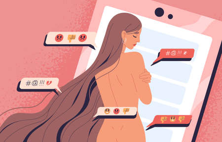 Naked woman embracing shoulders standing at giant smartphone background. Female victim of internet bullying vector illustration. Concept of slut shaming, outsider opinion and pressure of society