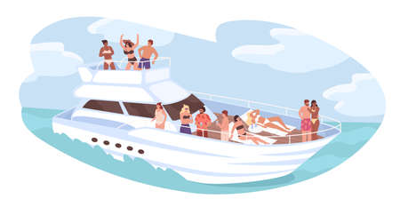 Group of diverse people relaxing on cruise yacht at ocean vector illustration. Man and woman dancing, sunbathing, drinking cocktails isolated. Friends resting on ship. Concept of travel and vacation