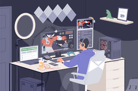Gamer guy playing online game on computer at home vector illustration. Smiling male taking part at cybersport competition. Man cyber sportsman in headphones shooting to monster during streaming Ilustracja