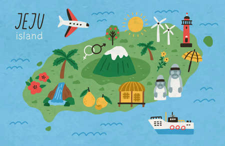 Hand drawn Jeju island map vector flat illustration. Korean land with traditional attractions stone figures, mountain, lighthouse, flower and fruit, waterfall, mountain, palm surrounded by ocean