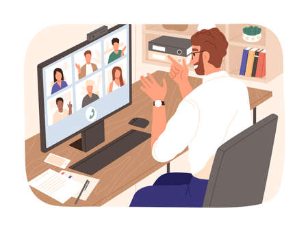Bearded smiling guy talking with colleagues during videoconference vector illustration. People having corporate video call isolated. Man and woman discussing work enjoying online communication.