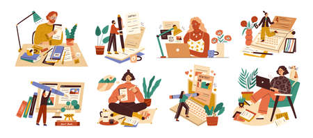Set of professional journalist, copywriter, content manager, blogger with laptop, pencil, book. Concept of computer work, text typing, posting. Cartoon flat vector illustration on white background.