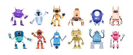 Set of happy funny cartoon childish robots wave hand, say hello. Cute kid cyborgs, retro, futuristic modern bots, android, smiling characters in flat vector illustration isolated on white background
