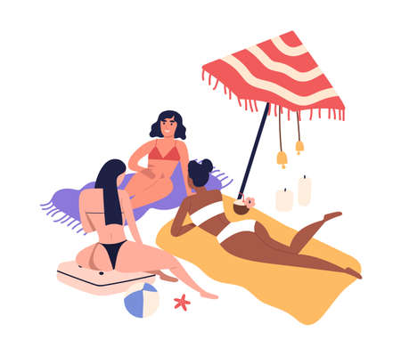 Cartoon women friends sunbathing on beach in bikini. Girls having rest near sea, relaxing in summer, lying under umbrella. Female friendship in flat illustration isolated on white background. Ilustração