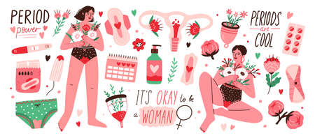 Set of menstruation, period, female uterus, reproductive system stickers. Women with flowers, pregnancy test, tampons, calendar, womb in cartoon vector illustration isolated on white background.