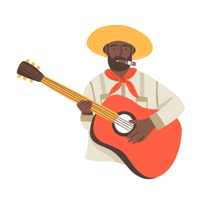 Cuba national dark skin artist, musician man with black beard and guitar. Vintage guitarist with Cuban cigar play traditional music in flat cartoon vector illustration isolated on white background.
