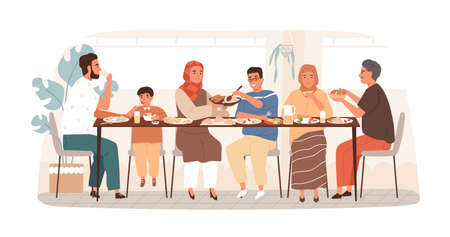 Traditional Arabic big family having dinner together vector flat illustration. National muslim relatives eating and drinking sitting at table isolated on white. People at holiday meal.