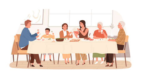 European family sitting at table together have festive dinner vector flat illustration. Smiling children, parents and grandparents eating, drinking and talking to each other isolated on white.