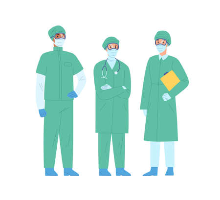 Group of medical staff in protective clothes vector illustration. Team of diverse physicians in safety mask and coat standing together isolated on white. Emergency aid workers in uniform.  イラスト・ベクター素材
