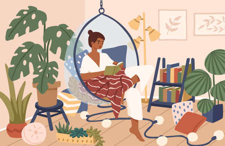 Relaxed black skin woman sitting in comfy hanging chair vector flat illustration. Female covering plaid reading book at cozy home interior. Time for yourself and relaxation at comfortable atmosphere.