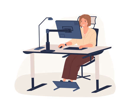 Happy female office worker sitting on chair at ergonomic workstation vector flat illustration. Modern woman working use computer looking at monitor isolated on white. Employee at innovative workplace. Illustration
