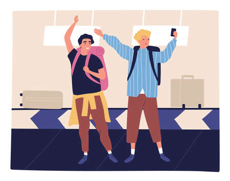 Two happy male friends taking selfie at airport arriving to summer vacation vector flat illustration. Travel guy posing making photo use smartphone. Tourists with backpack waiting baggage at terminal.