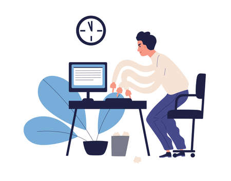 Stressed multitasking man trying to get in time making many work use computer vector flat illustration. Male office worker hurrying working isolated on white. Missing deadline and bad time management.