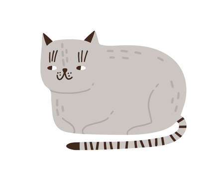 Funny childish gray cat vector flat illustration. Cute domestic animal with striped tail isolated on white background. Cheerful pet lying hiding paws under body. Cunning feline character.