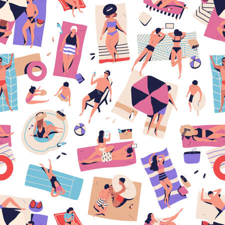 Crowd of relaxed people chilling on beach seamless pattern. Man, woman, couple and children relaxing, sunbathing, sleeping, surfing internet and playing vector flat illustration. Summer vacation. 向量圖像