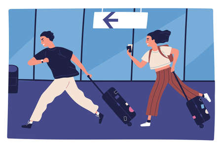 Scene of man and woman hurrying to flight at airport terminal vector flat illustration. Couple running carrying baggage or luggage. Happy rushing tourists going on summer vacation, journey or trip.