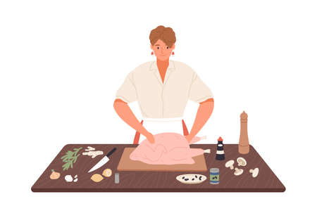 Smiling housewife preparing turkey on kitchen table vector flat illustration. Happy woman cooking food with spices and herbs isolated on white. Female in apron preparation meal to Thanksgiving Day.