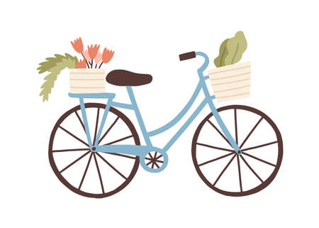 Cute hand drawn bicycle or bike isolated on white background. Urban eco friendly pedal transport carrying baskets with flowers and plants vector flat illustration. Retro vehicle with flower bouquet.