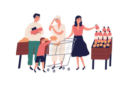 Big family at grocery supermarket choose food products, purchase together. Retired grandmother with list, shopping cart, trolley, child. Flat vector cartoon illustration isolated on white background