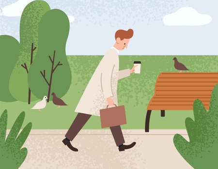 Tired sleepy man holding paper coffee cup and going to work vector flat illustration. Sad office worker guy walking at park and dreaming about get sleep. Pensive morning fatigue male with briefcase