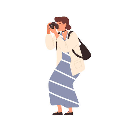 Smiling woman in trendy dress taking photo holding camera vector flat illustration. Happy female photographing enjoying hobby isolated on white. Cute girl amateur photographer with backpack