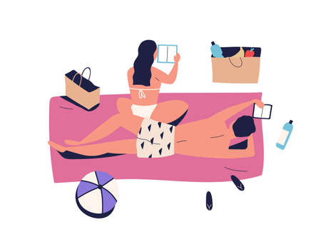 Sunbathing couple, woman and man on vacation picnic, reading book. Girlfriend and boyfriend chill, relax on summer beach. Summertime in flat vector cartoon illustration isolated on white background Ilustração