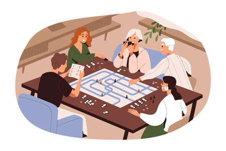 Big family of different generations playing board game vector flat illustration. Grandparents, parents and kid enjoy home leisure activity isolated on white. Happy relatives spending time together Ilustración de vector