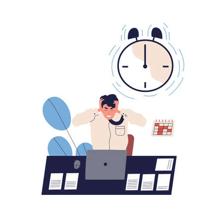 Concept of missing deadline, bad time management. Scene of tired, furious, stressed man clutch head, alarming clock. Time waste at work. Flat vector cartoon illustration isolated on white background Illustration