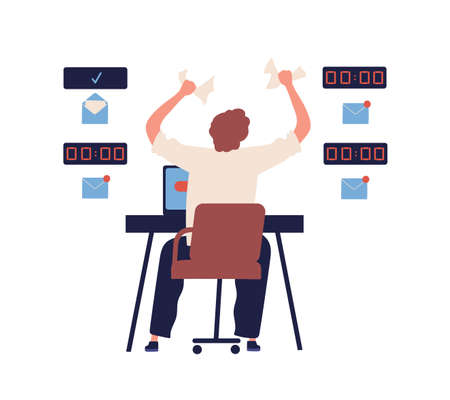 Concept of missing deadline, bad time management. Scene of tired, frustrated, furious, stressed man crumples papers. Time waste at work. Flat vector cartoon illustration isolated on white background Illustration
